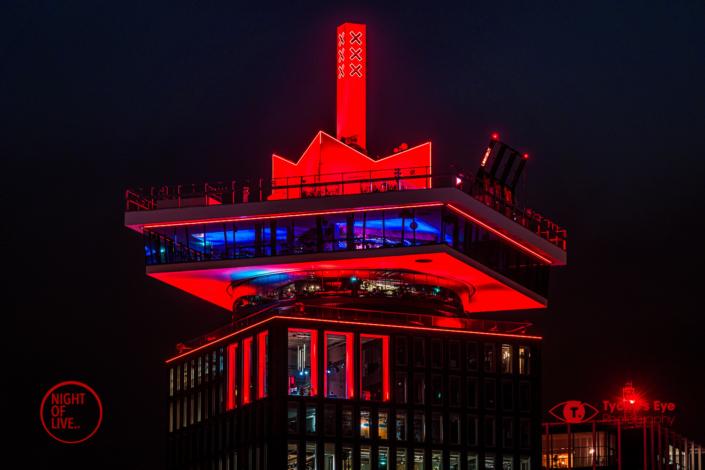 night of live, #nightoflive, Gebouwen kleuren rood voor de evenementenbranche
